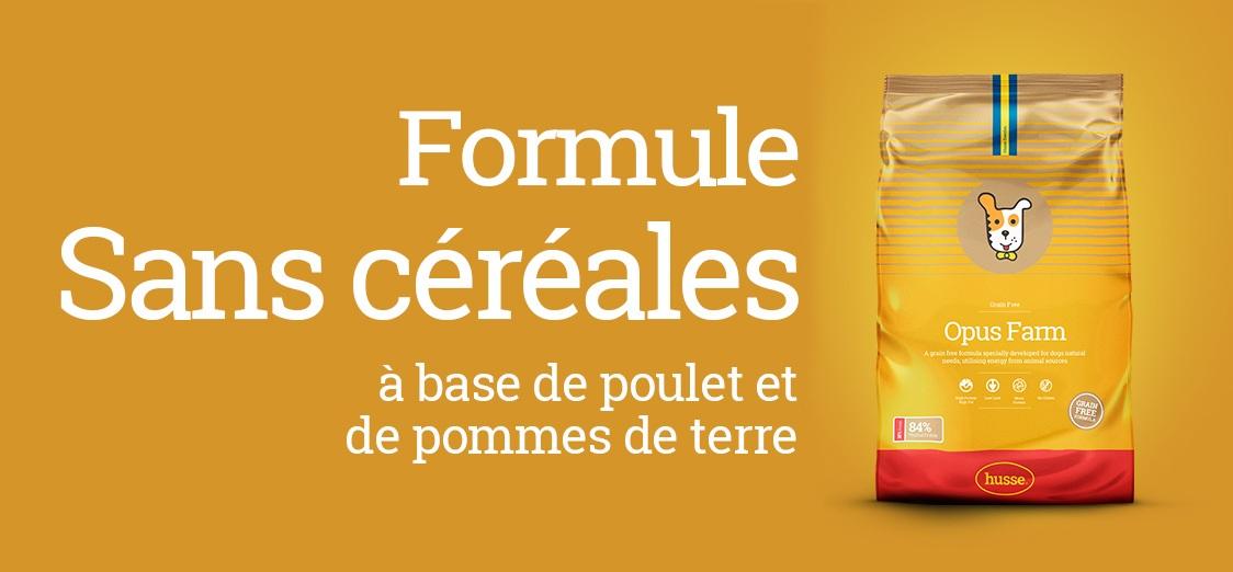 Croquettes sans céréales Opus Farm