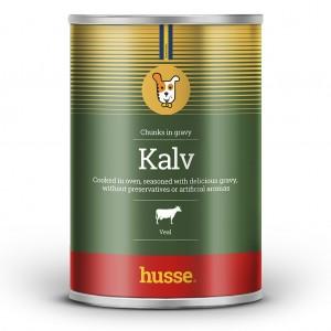 Lata de albondigas para perros con salsa color verde franja roja bandera sueca y logo perro Kalv: 1275 g