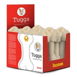 caja roja y balnca de huesos masticables TUGGA