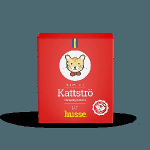 Caja de arena para gato color rojo con bandera sueca y logo de gato, Kattströ, Rod 15 Kg