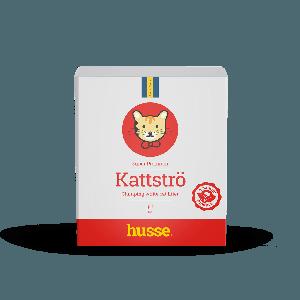 caja de arena aglomerante para gatos de color blanco y rojo con la bandera sueca y un gato dibujado husse, Kattströ: 15 l