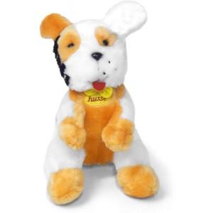 peluche perro hund color blanco con marron husse