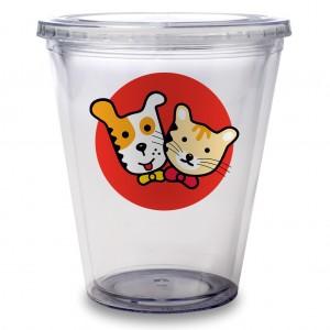 vaso medidor de plastico transparente con logo de perro y gato, matglaset