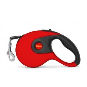 Rulle, correa extensible para perros de color rojo y negro con el logo husse