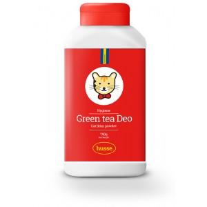 bote rojo de desodorante para el arenero o gatera al te verde, con la bandera sueca y logo de gato husse, Green Tea Deo