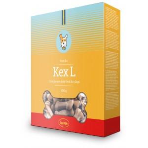 caja amarilla de galletas para perros hechas con vegetales con la bandera sueca y el logo husse en una franja roja Kex L: 400 g