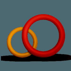 juguete mordedor en forma de aro de color rojo o amarillo para perros, Bitring: M