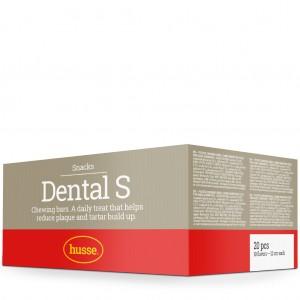 caja de barritas limpiadoras para los dientes de color marron con franja roja y logo husse, Dental