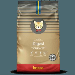 saco de pienso para gatos sin gluten de color marron con la bandera sueca y el logo de gato husse, Exclusive Digest: 7kg