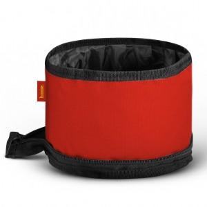 cuenco rojo y negro plegable con cremalleya