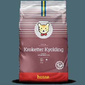 saco de pienso para gatos de color vino tinto, con la bandera sueca y una franja roja, Kroketter Kyckling: 3 kg