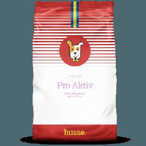 saco de pienso para perros activos de color blanco y rojo con la bandera sueca un dibujo de perro en el centro y una franja roja con el logo husse, Pro Aktiv: 20 kg