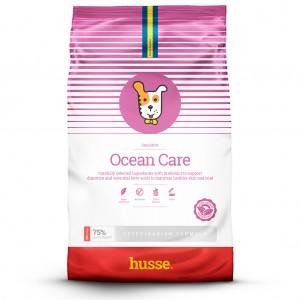 saco de pienso de salmon, para perros de color rosa y blanco para perros con bandera sueca y logo de perrito husse Ocean Care: 12,5 kg