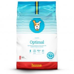 saco de pienso para perros de color azul y blanco con la bandera sueca y logo de perro husse Optimal Sensitive 12,5 kg