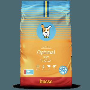 saco de pienso amarilla con azul y la bandera sueca para perros de gran tamaño con una franja roja y un perro dibujado, Optimal Giant: 15 kg