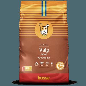 saco de pienso marron y naranja para cachorros con la bandera sueca, una franja roja y el logo husse del perrito, Valp Maxi: 15 kg
