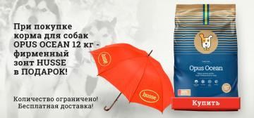 Стильный зонт Husse в ПОДАРОК при покупке корма Opus Ocean!