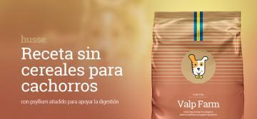 Husse lanza al mercado español su primer pienso para cachorros sin cereales Valp Farm