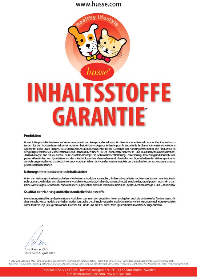 Inhaltsstoffe Garantie