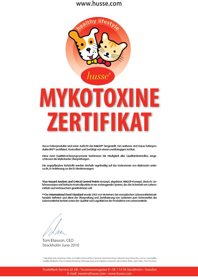 Mykotoxine Zertifikat