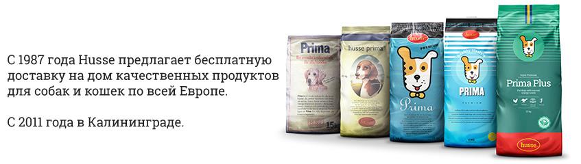 С 1987 года Husse предлагает бесплатную доставку на дом качественных продуктов для собак и кошек по всей Европе.  С 2011 года в Калининграде.